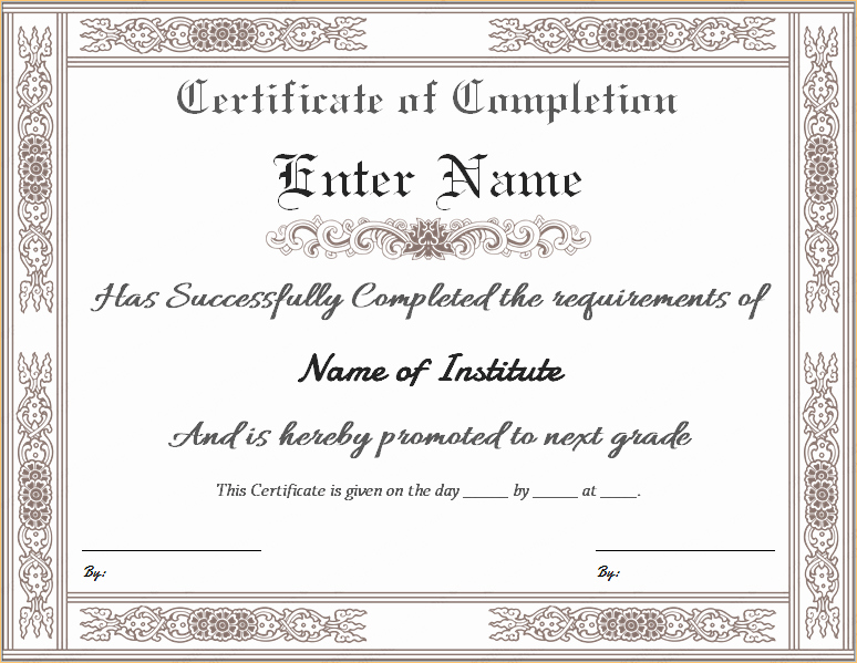 Certificate Of Completion Word Template Awesome Certificate Templates