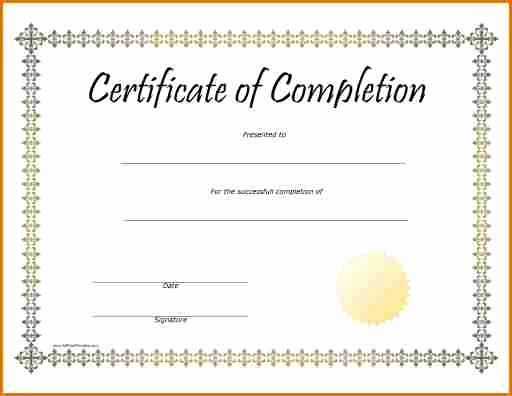 Certificate Of Completion Word Template Beautiful Blank Certificate Pletion Template Beautiful