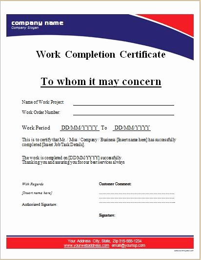 Certificate Of Completion Word Template Beautiful Work Pletion Certificates for Ms Word