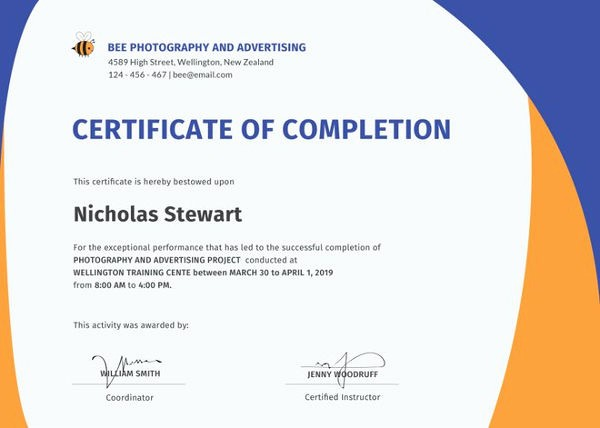 Certificate Of Completion Word Template Elegant Certificate Of Pletion Template 34 Free Word Pdf