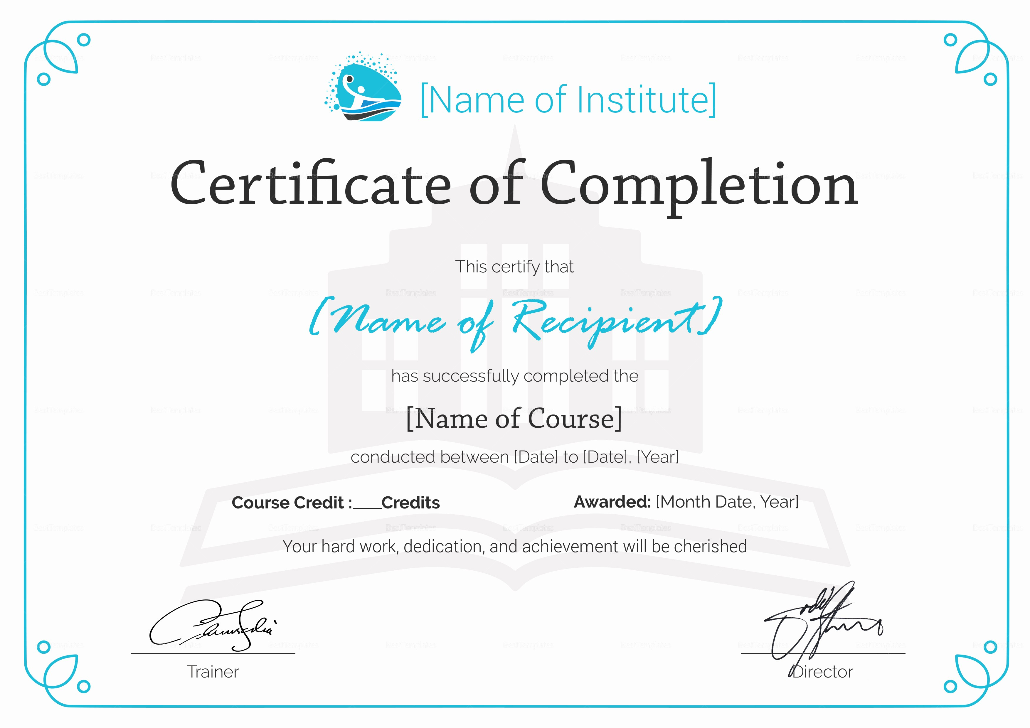 Certificate Of Completion Word Template Elegant Training Pletion Certificate Design Template In Psd Word