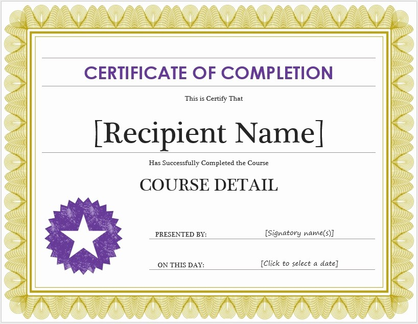 Certificate Of Completion Word Template Fresh Free Certificate Of Pletion Template – Microsoft Word