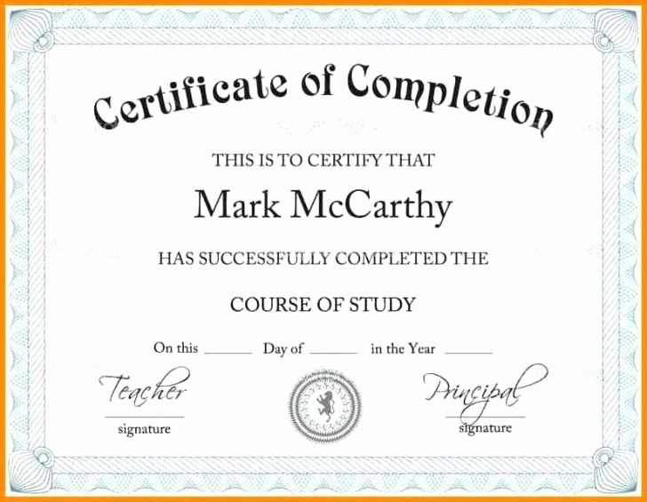 Certificate Of Completion Word Template Inspirational Certificate Pletion Template Word Best Fillable