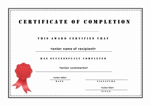 Certificate Of Completion Word Template Inspirational Pletion Certificates