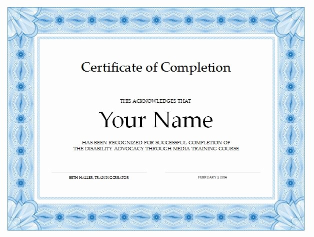 Certificate Of Completion Word Template Lovely 13 Certificate Of Pletion Templates Excel Pdf formats