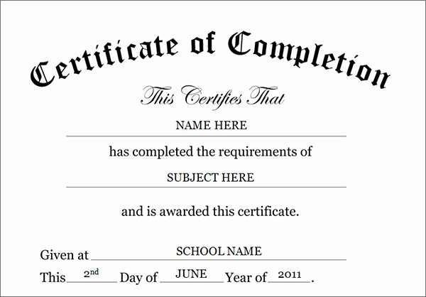 Certificate Of Completion Word Template Lovely Printable Certificates Of Pletion