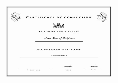 Certificate Of Completion Word Template New Certificate Of Pletion 002