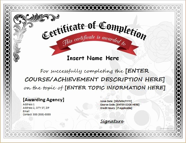 Certificate Of Completion Word Template New Pin by Alizbath Adam On Certificates