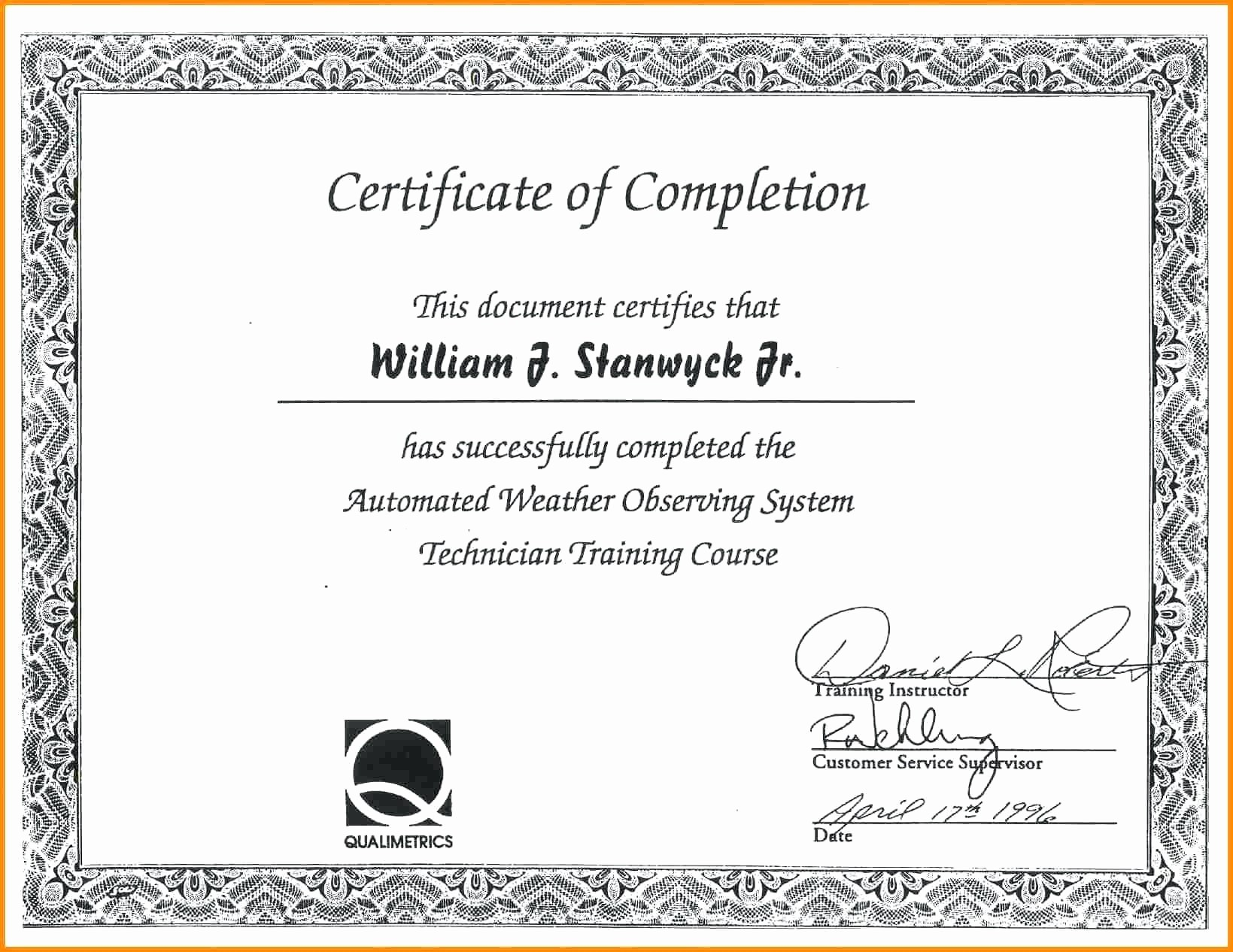 Certificate Of Completion Word Template New Template Certificate Achievement Template