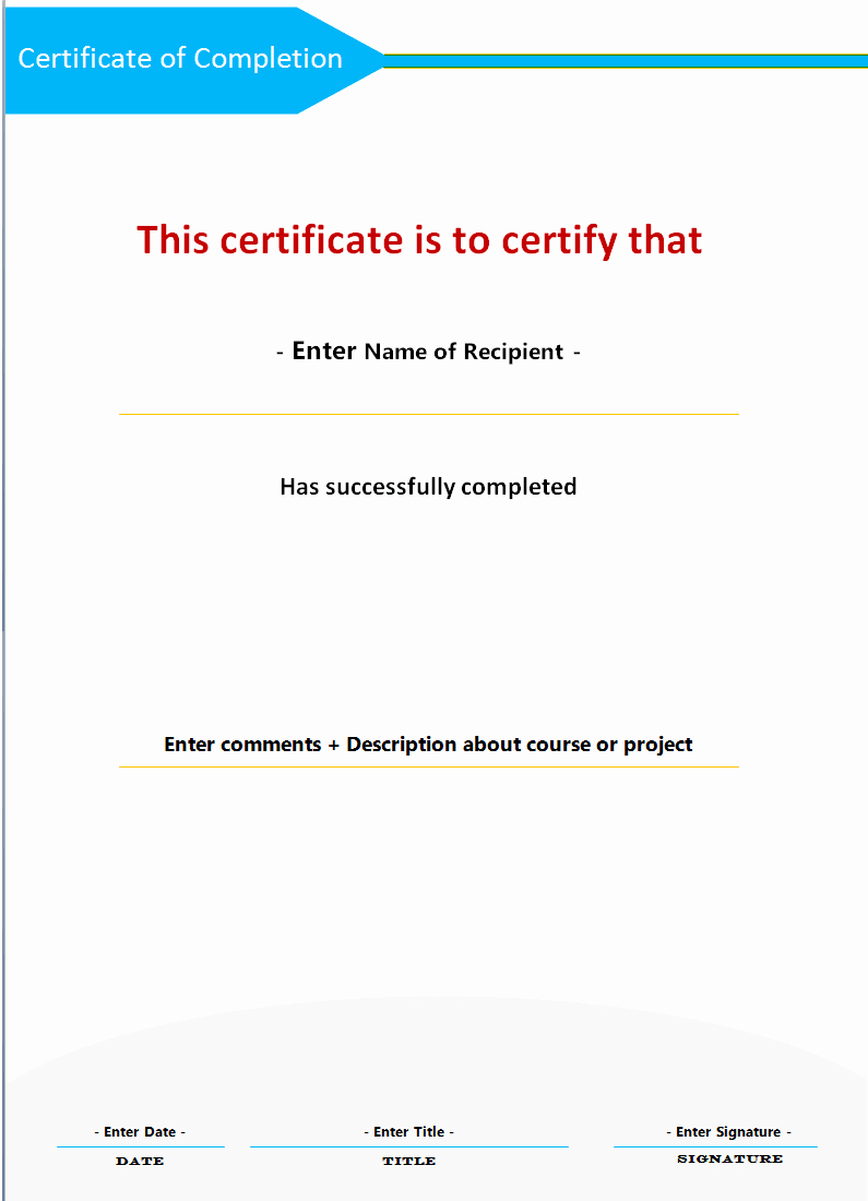 Certificate Of Completion Word Template Unique Certificate Of Pletion Microsoft Word Templates