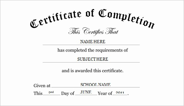 Certificate Of Completion Word Template Unique Preschool Certificate Template 16 Free Word Pdf Psd