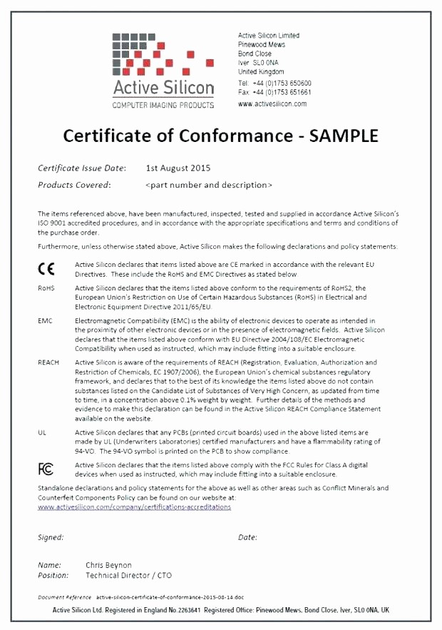 Certificate Of Compliance Template Word Awesome Generic Certificate Pliance