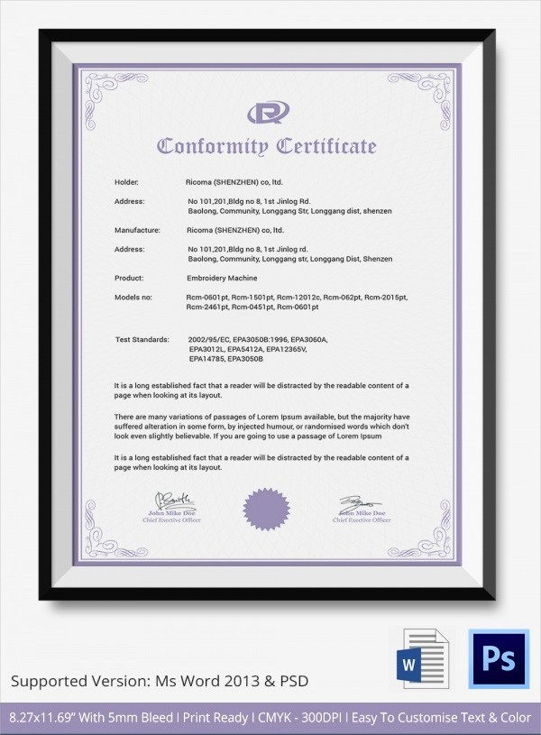 Certificate Of Compliance Template Word Beautiful 20 Certificate Of Conformance Templates