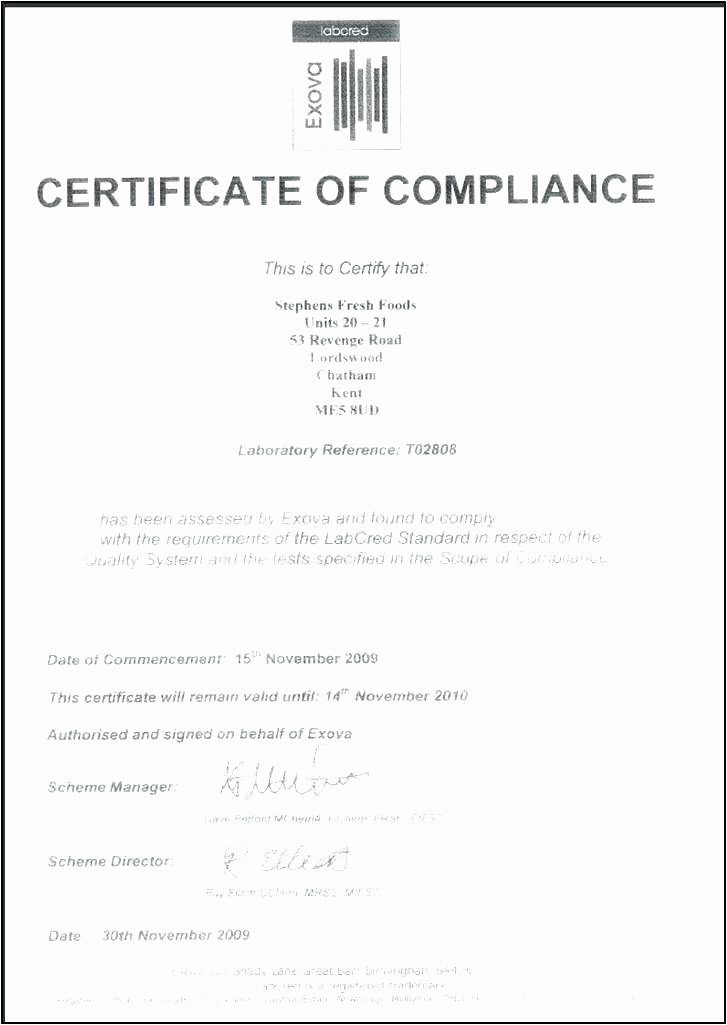 Certificate Of Compliance Template Word Beautiful Certificate Pliance Template