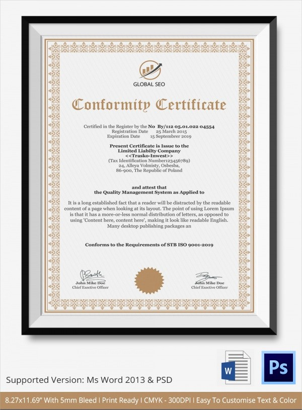 Certificate Of Compliance Template Word Inspirational 20 Certificate Of Conformance Templates