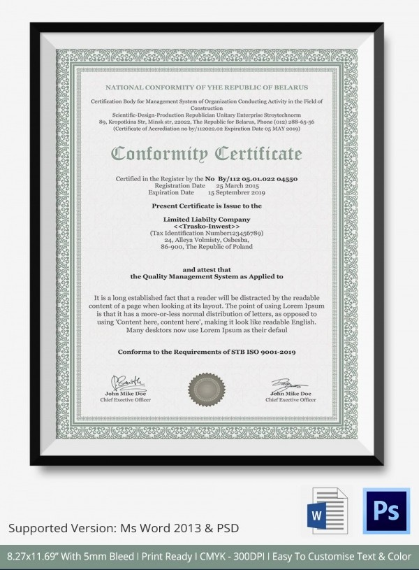 Certificate Of Compliance Template Word Inspirational Certificate Of Conformance Template 7 Free Word Pdf