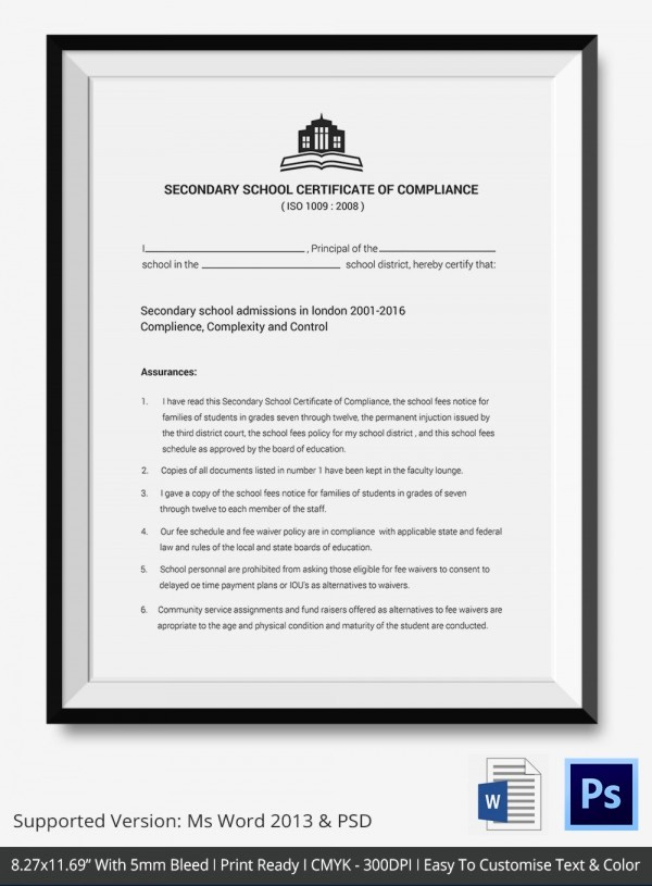 Certificate Of Compliance Template Word Luxury Certificate Of Pliance Templates – 9 Word Pdf Psd
