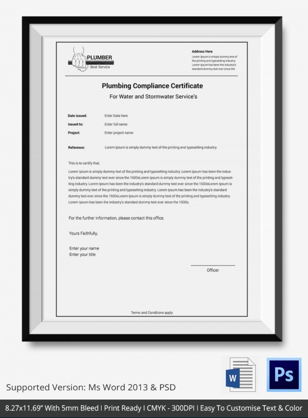 Certificate Of Compliance Template Word New Certificate Of Pliance Templates – 9 Word Pdf Psd