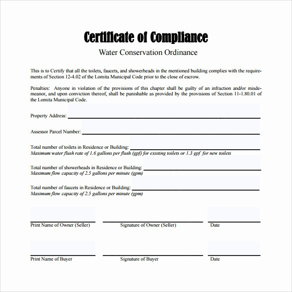 Certificate Of Compliance Template Word Unique 13 Certificate Of Pliance Samples
