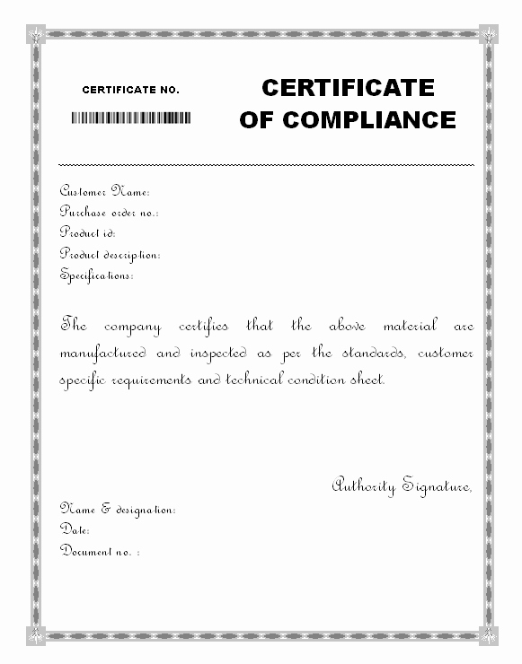 Certificate Of Compliance Template Word Unique Material Certificate Of Pliance form