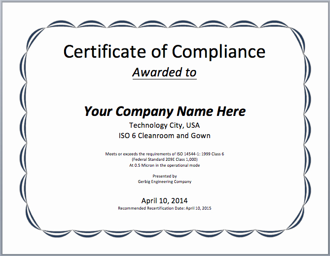 Certificate Of Compliance Template Word Unique Pliance Certificate Template Microsoft Word Templates