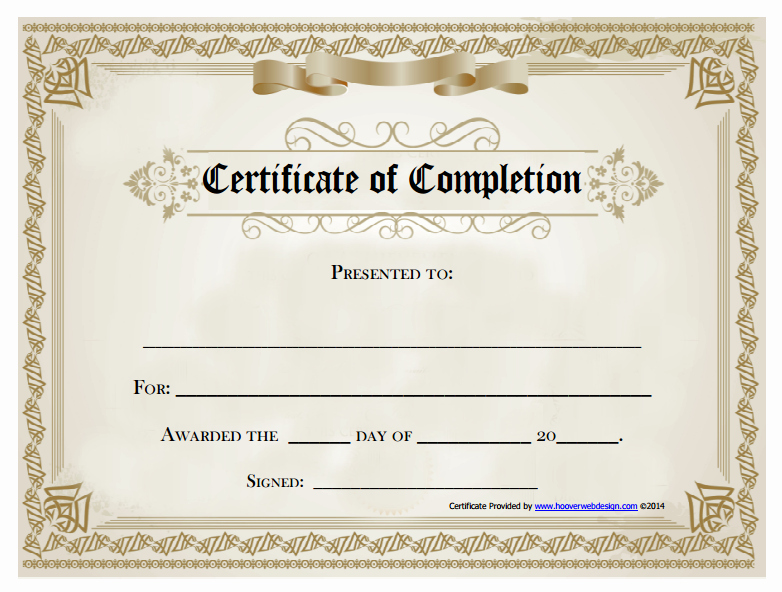 Certificate Of Course Completion Template Awesome 18 Free Certificate Of Pletion Templates