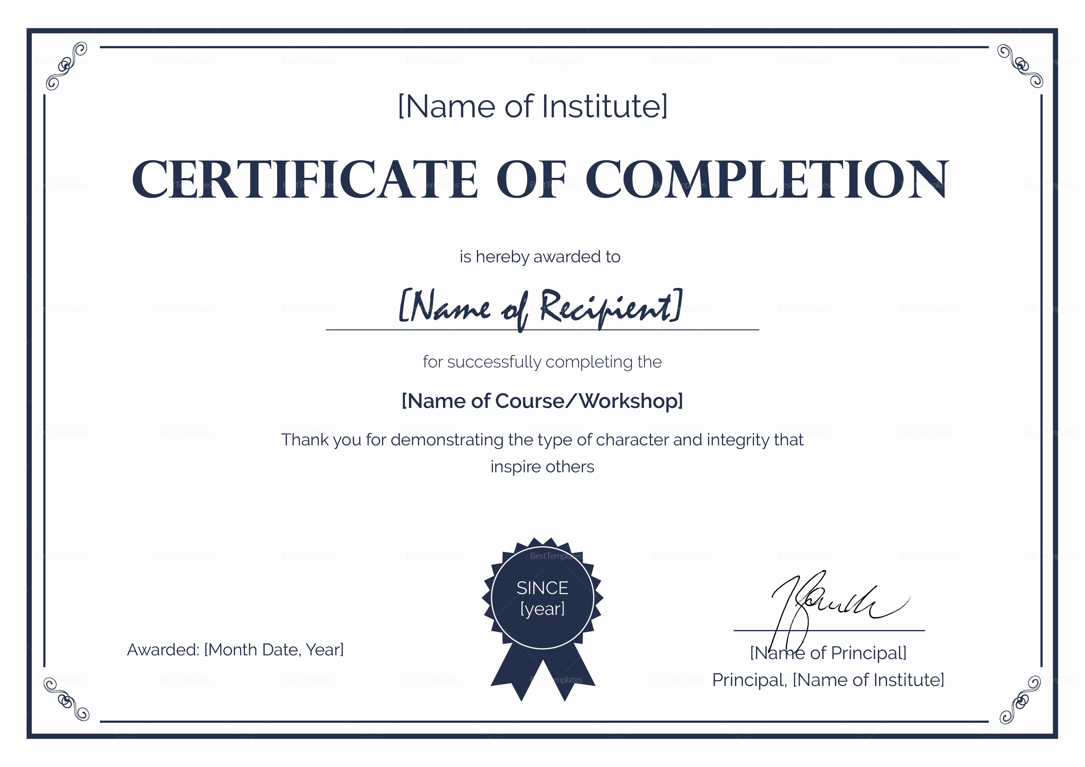 Certificate Of Course Completion Template Awesome formal Pletion Certificate Design Template In Psd Word