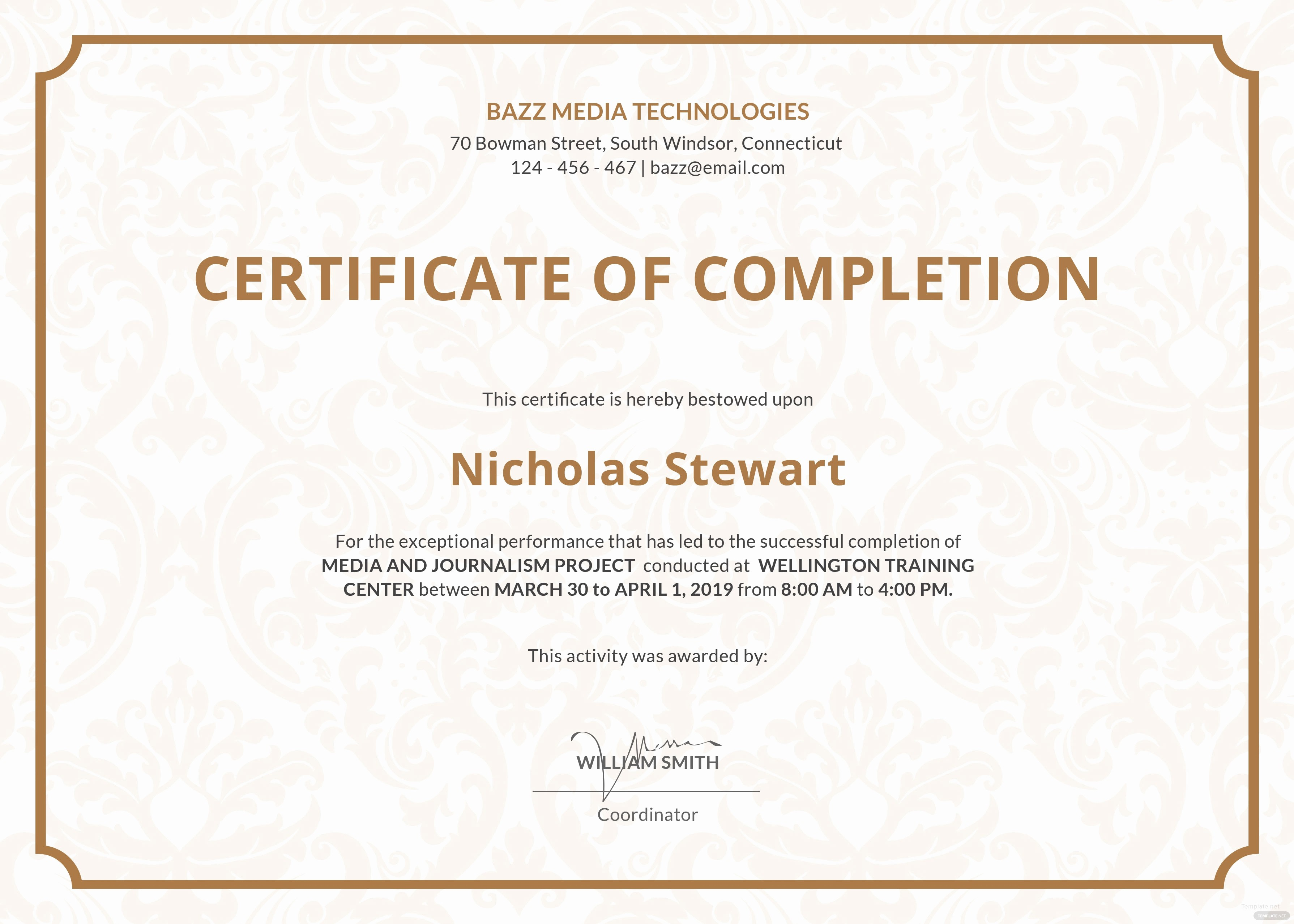 Certificate Of Course Completion Template Beautiful Free Project Pletion Certificate Template In Adobe