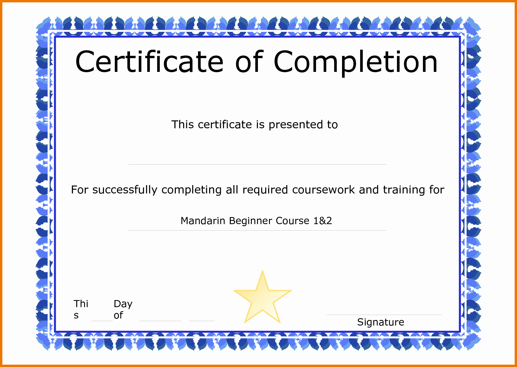 Certificate Of Course Completion Template Beautiful Template for Certificate Pletion
