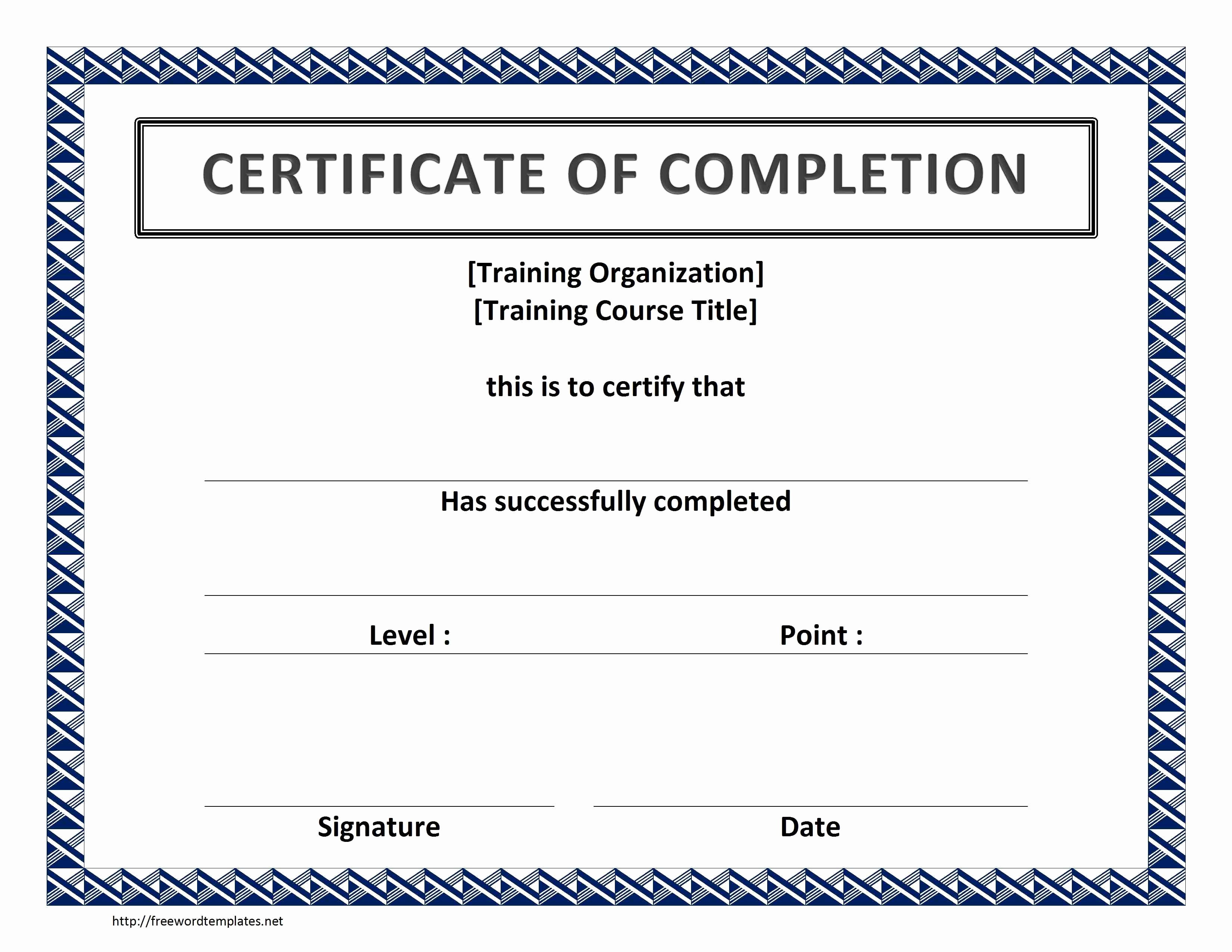 Certificate Of Course Completion Template Best Of Training Certificate Template