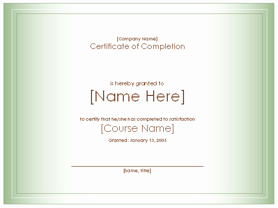 Certificate Of Course Completion Template Elegant Award Certificate for Pletion Course Free