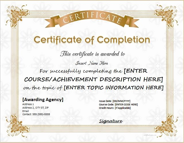 Certificate Of Course Completion Template Fresh 25 Best Ideas About Certificate Of Pletion Template On