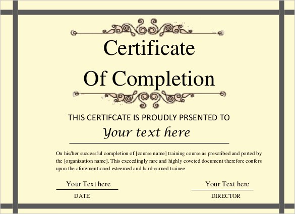 Certificate Of Course Completion Template Fresh Printable Certificate Template 46 Adobe Illustrator