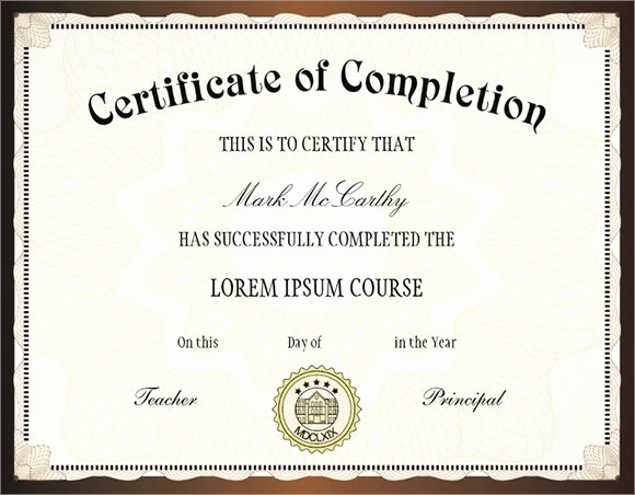 Certificate Of Course Completion Template Inspirational 26 Sample Certificate Of Pletion Templates