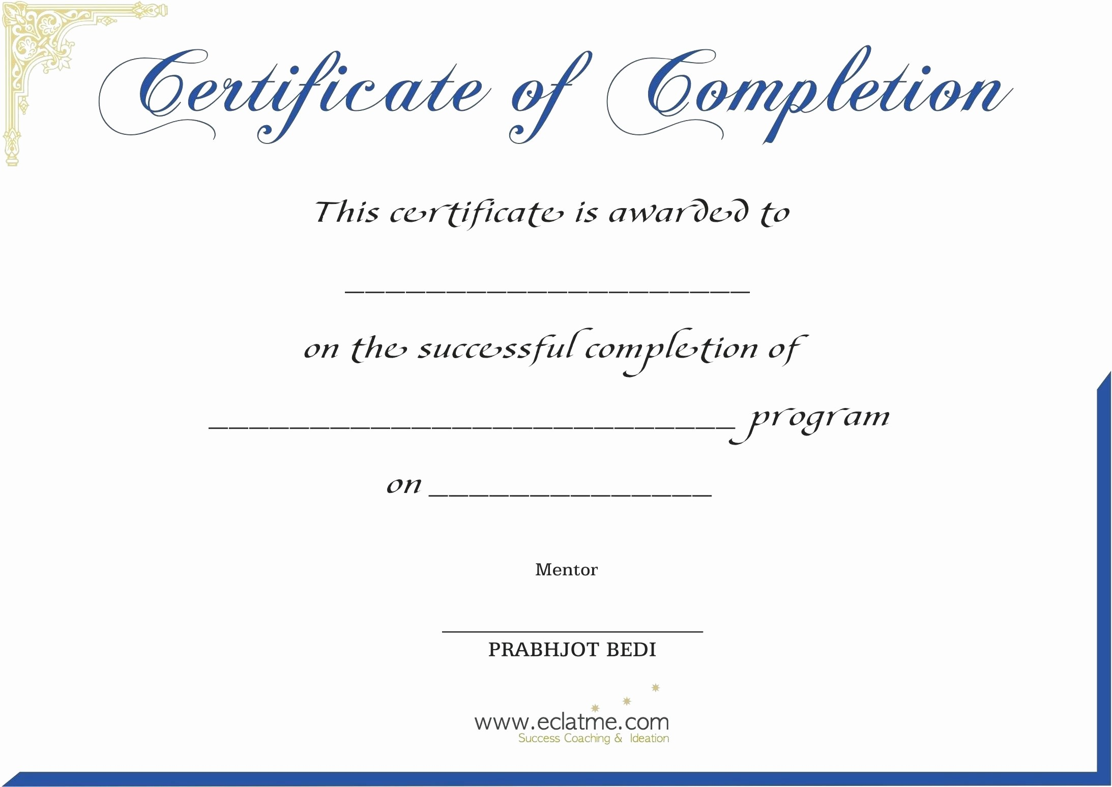 Certificate Of Course Completion Template Inspirational Template Course Pletion Certificate Template