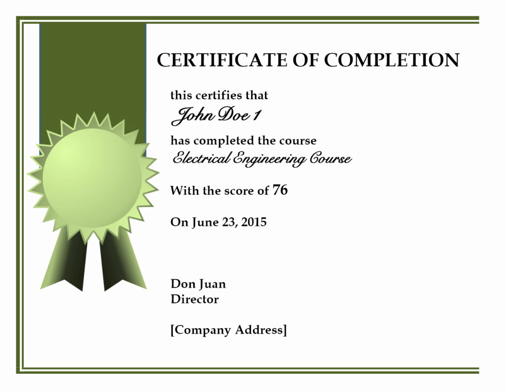Certificate Of Course Completion Template Lovely 10 Certificate Of Pletion Templates Word Excel Pdf