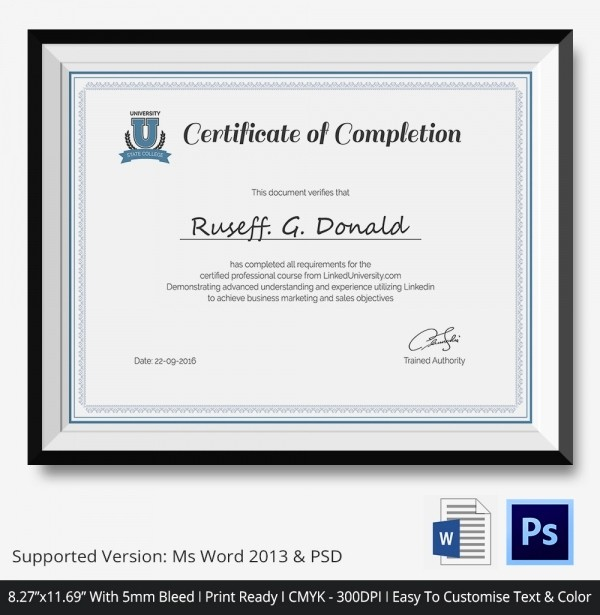 Certificate Of Course Completion Template Lovely Certificate Of Pletion Template 31 Free Word Pdf