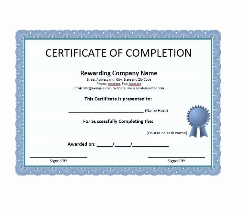Certificate Of Course Completion Template New 40 Fantastic Certificate Of Pletion Templates [word