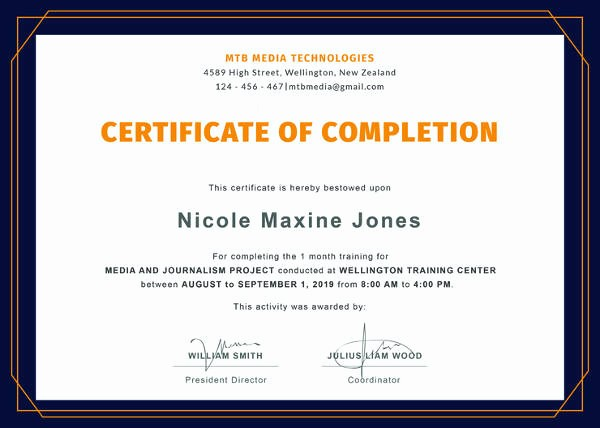 Certificate Of Course Completion Template New Certificate Of Pletion Template 34 Free Word Pdf
