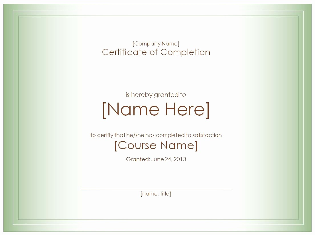 Certificate Of Course Completion Template Unique Certificate Templates Template Trove