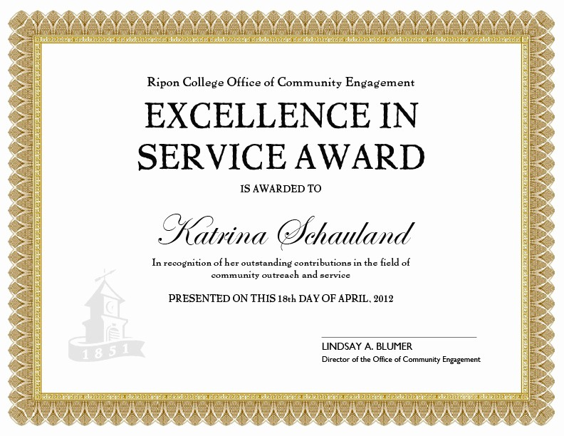 Certificate Of Excellence for Employee Awesome Doing More to Her 04 01 2012 05 01 2012