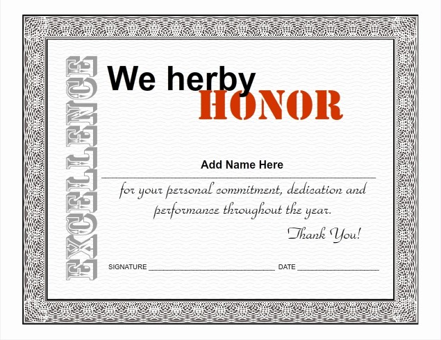 Certificate Of Excellence for Employee Beautiful Certificate Excellence for Employee Template