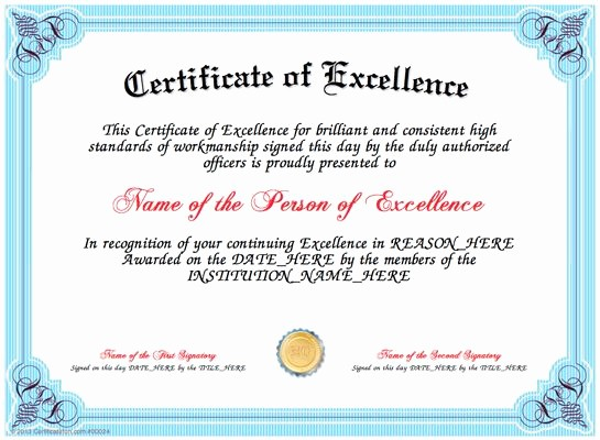 Certificate Of Excellence for Employee Best Of Excellence Present A Certificate Of Excellence to A