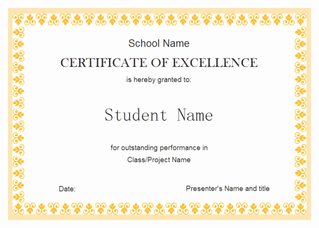 Certificate Of Excellence for Employee Best Of Perfect Example Of Editable Certificate Of Excellence