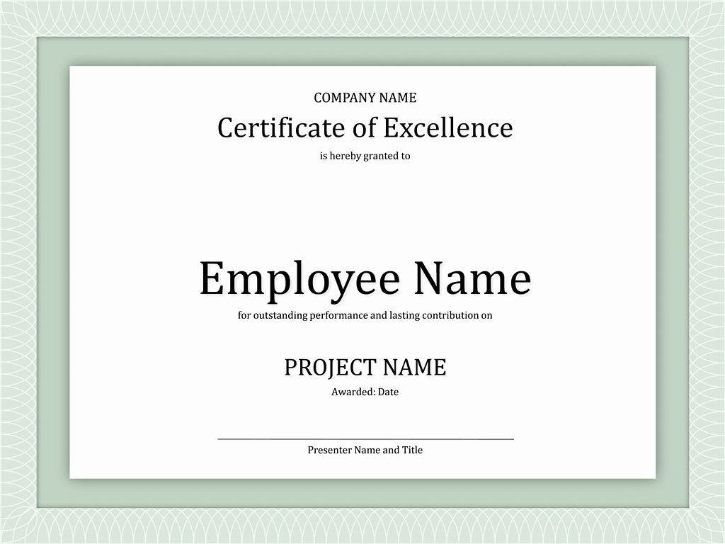 Certificate Of Excellence for Employee Elegant Certificates Fice
