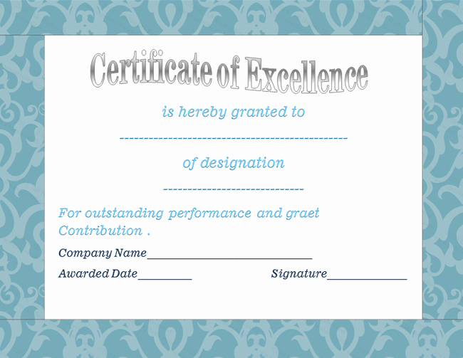 Certificate Of Excellence for Employee Inspirational Blue Floral Award Of Excellence Template