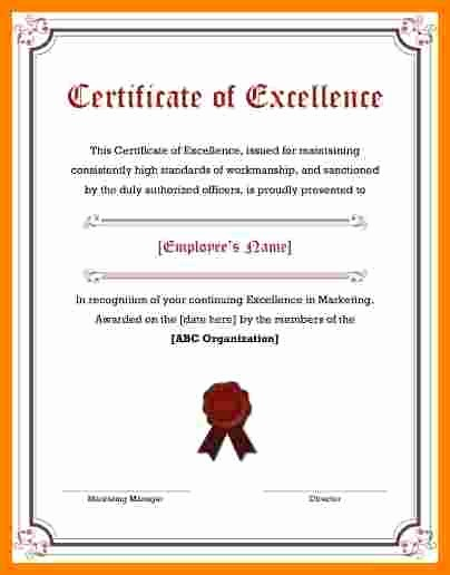 Certificate Of Excellence for Employee Luxury 5 Certificate Of Excellence
