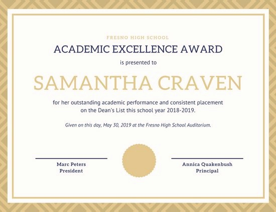 Certificate Of Excellence for Employee Luxury Academic Award Certificate Template Beautiful Template