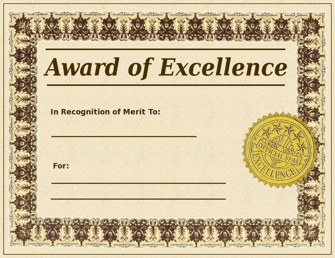Certificate Of Excellence for Employee Luxury Blank Award Certificate Templates