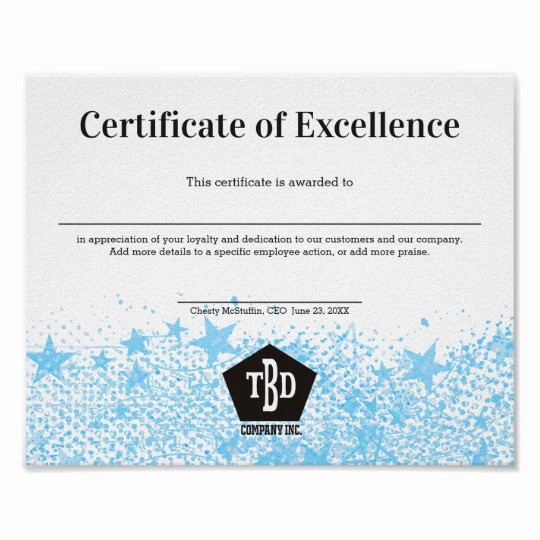 Certificate Of Excellence for Employee Luxury Certificate Of Excellence Staff Employee Award Poster